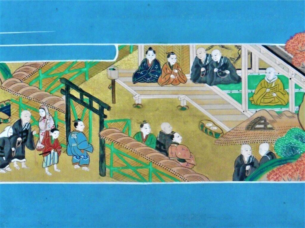 親鸞聖人を訪ねて稲田の草庵を訪れる人々
